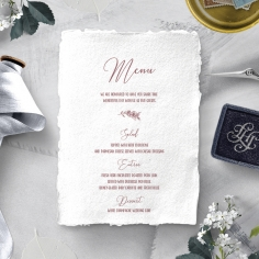 Bouquet of roses wedding stationery table menu card design