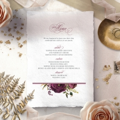 Burgandy Rose wedding venue table menu card stationery item