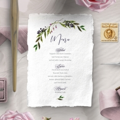 Country Charm wedding menu card stationery design
