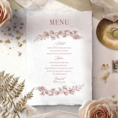 Fragrant Romance wedding reception table menu card design