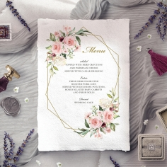Geometric Bloom wedding reception menu card