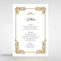 Golden Divine Damask wedding venue menu card