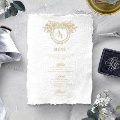 Heritage of Love wedding stationery table menu card item