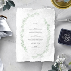 Minimalist Wreath wedding table menu card stationery