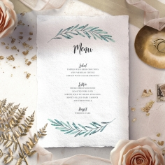 Modern Garland wedding venue table menu card stationery