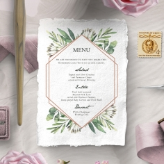 Modern Greenery wedding stationery menu card