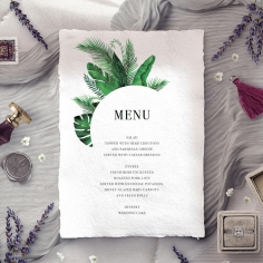 Palm Leaves wedding reception menu card stationery