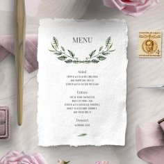 Rustic Affair wedding menu card stationery