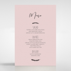 Sweet Romance wedding venue menu card