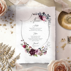 Watercolor Rose Garden wedding reception table menu card