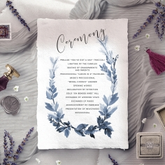 Blue Forest order of service wedding invite card design