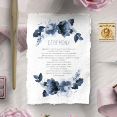 Blue Wonderland order of service wedding card