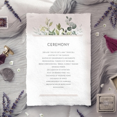 Botanic Romance order of service ceremony card
