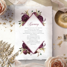 Burgandy Rose wedding stationery order of service invite card design