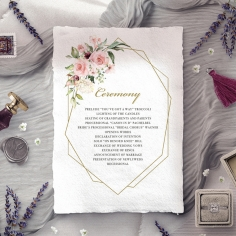 Geometric Bloom order of service ceremony invite card
