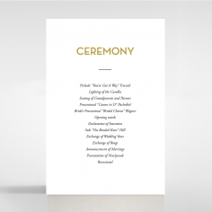 Gold Chic Charm Paper wedding order of service invitation card