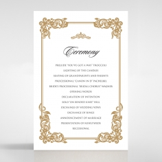 Golden Divine Damask order of service invitation card