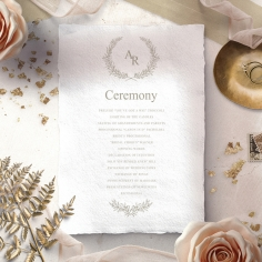 Preppy Wreath wedding stationery order of service invitation card design