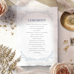 Romantic Soiree wedding stationery order of service invitation card
