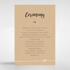 Sweetly Rustic wedding stationery order of service invitation card