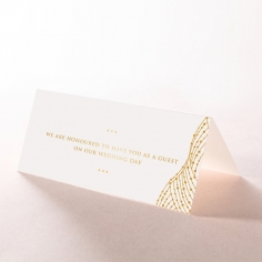 Woven Love Letterpress with foil wedding reception place card