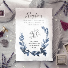 Blue Forest wedding reception card design