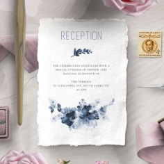 Blue Wonderland reception enclosure stationery invite card