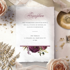 Burgandy Rose reception wedding invite card design
