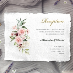 Geometric Bloom wedding reception invitation card design