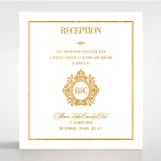 Gold Foil Baroque Gates reception stationery card