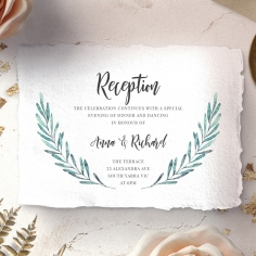 Modern Garland reception wedding card design
