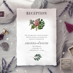 Tropical Island wedding reception invite