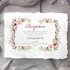 Vines of Love wedding reception invitation card