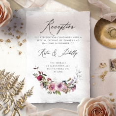 Watercolor Rose Garden reception invitation