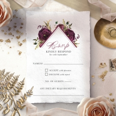 Burgandy Rose rsvp wedding enclosure card design
