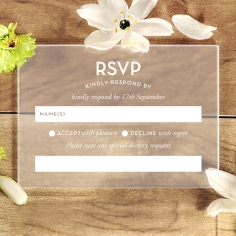 Frosted Chic Charm Acrylic rsvp wedding enclosure invite design