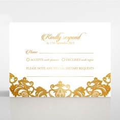 Golden Baroque Pocket with Foil wedding rsvp card