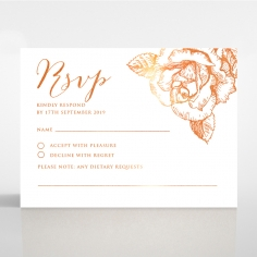 Rose Romance Letterpress with foil rsvp card
