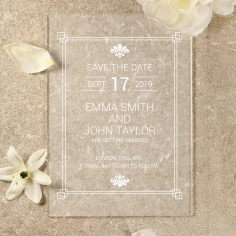 Acrylic Gilded Decadence save the date card