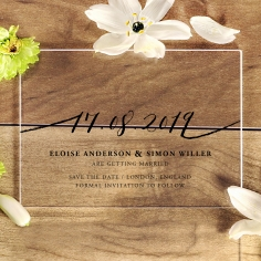 Acrylic Infinity save the date invitation stationery card