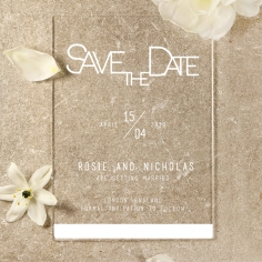 Acrylic Minimalist Love save the date invitation stationery card item