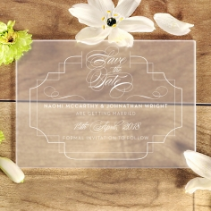 Acrylic Regal Enchantment save the date invitation card design
