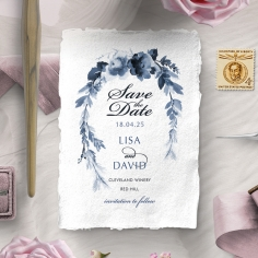 Blissful Union save the date wedding card design