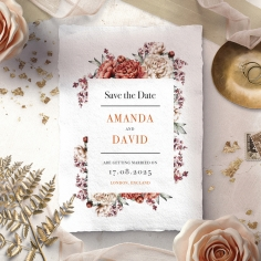 Blossoming Love save the date stationery card