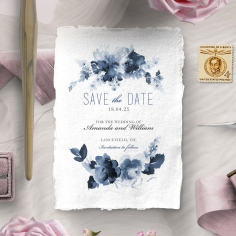 Blue Wonderland save the date wedding card