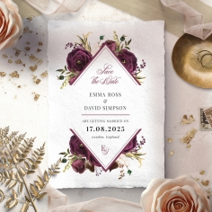 Burgandy Rose save the date card