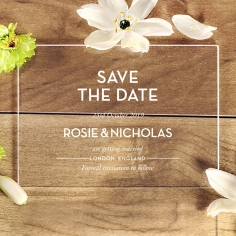 Clear Chic Charm Acrylic wedding save the date stationery card