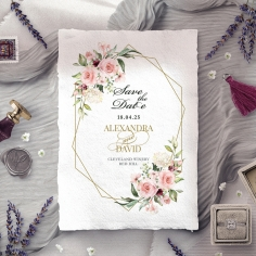 Geometric Bloom save the date invitation card design