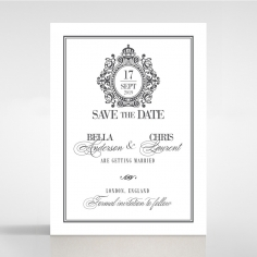 Golden Baroque Gates wedding stationery save the date card design