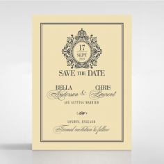 Golden Baroque Gates wedding stationery save the date card